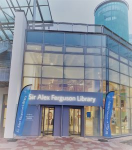 Image of the entrance to Sir Alex Ferguson Library with Icarus filter.